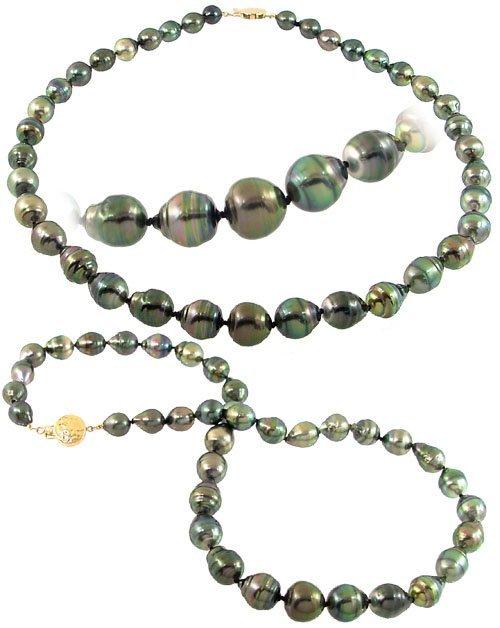 1125: 9/12mm 37 Tahitian pearl circlé necklac