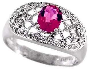 14kwg 1ct Pink Tourmaline/.16 diamond ring
