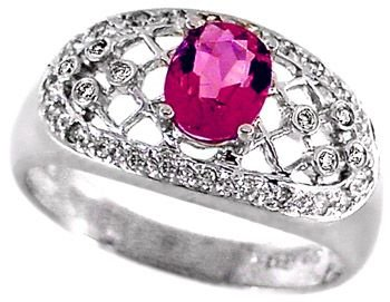 2: 14kwg 1ct Pink Tourmaline/.16 diamond ring