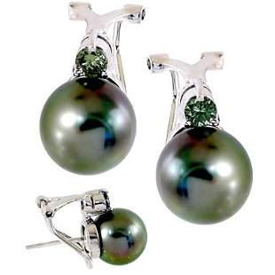14WG 10mTahitian pearl .33dia earring