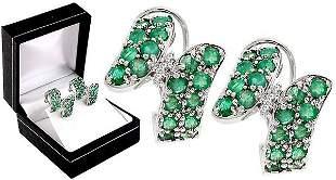 14KWG 2.70 Emerald dia bypass omega earring