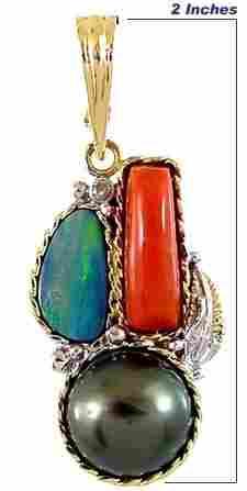 14K 13m Tahitian Pearl Opal Coral pendant