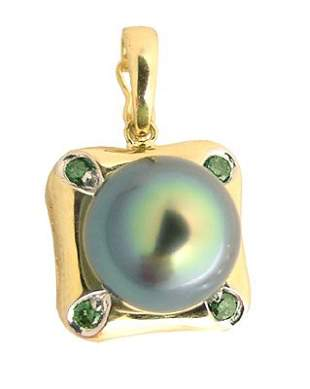 14K 10.5/11m Tahitian pearl.13dia pendant