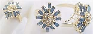 14K 1.75ct sapphire bagguette diamond ring