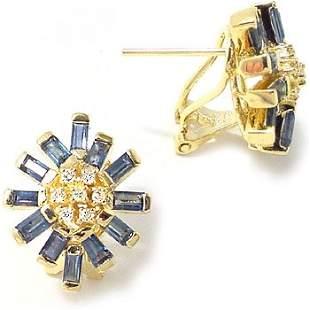 14K 3.10ct sapphire bagguette dia earring