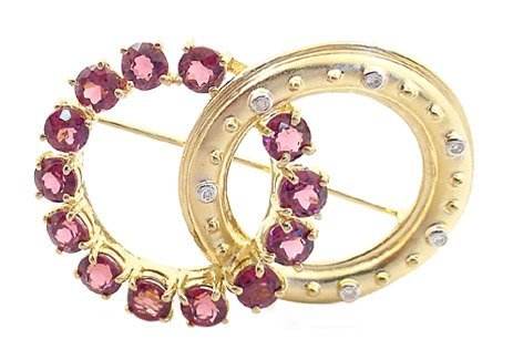 12: 14K 5ct Rhodolite garnet dia  circle pin