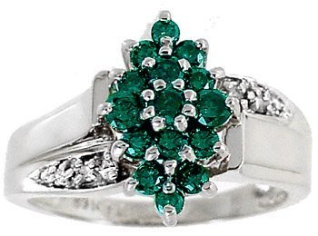 13: 14KWG .50ct  Green/ White Diamond ring