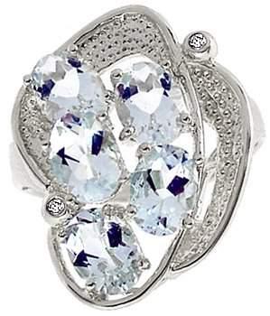 14K WG 3.5ct Aquamarine diamond ring