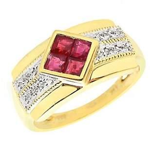 14K .71ct Burmes ruby .10ct diamond ring