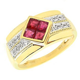 18: 14K .71ct Burmes ruby .10ct diamond ring