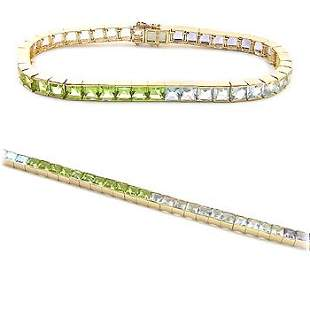14KT Iolite Topaz Peridot Aqua bracelet