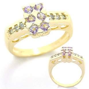 14K .50ct Tanzanite .13 teal diamond ring