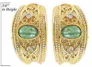14K 1ct emerald cabachon dia earring