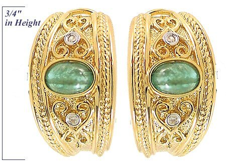 24:  14K  1ct emerald cabachon dia  earring
