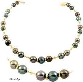 25: 14K  10/13.5 Tahitian 23 pearl necklace