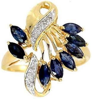 1.50ct Sapphire 8 marquise diam cluster