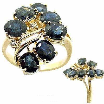 1011: 5.52ct sapphire 7 oval diamond cluster