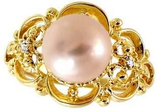 14kt 8.5mm pink pearl dia filligree rin
