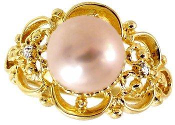 1013: 14kt 8.5mm pink pearl dia filligree rin