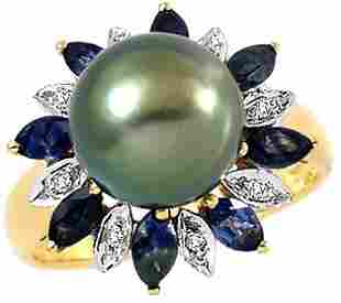 9.5mm Tahitian Pearl sapphire dia Ring