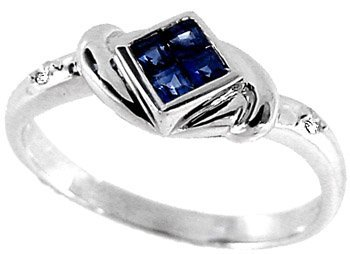 1017: 14WG Sapphire Princess cut Diamond ring