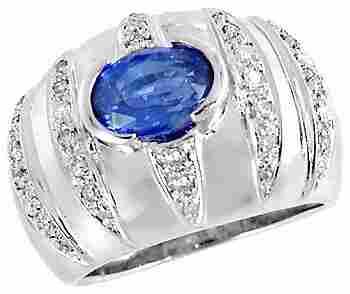 1019: WG 1.95ct Ceylon Sapphire .35dia dome b