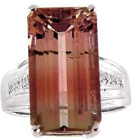 WG 12ct Pink Tourmaline t-cut dia ring