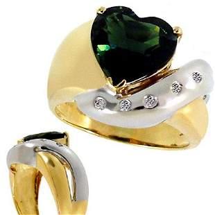 3.32ct Green Tourmaline heart .06Dia ri