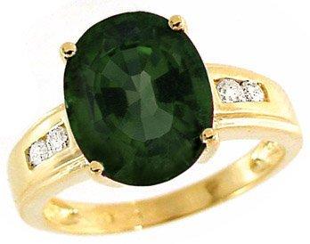 1024: 5ct GreenTourmaline Oval .15 dia ring