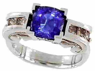 1075: 14kwg 3.91ctw Sapphire/Champ Diamond Ri