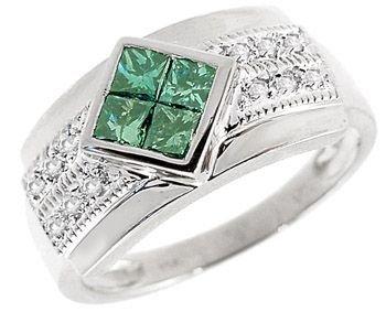 2001: 14k wg .65 Blue & White Diamond Designer Ring