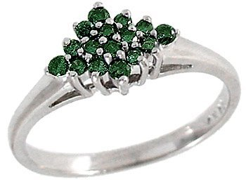 2006: WG .26ct Teal Blue Diamond cluster ring