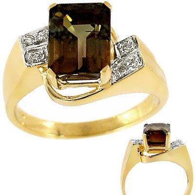 2008: 14kt yg 3.5c Copper Tourmaline/Diamond E-Cut Ring