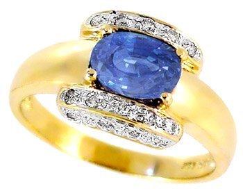 2028: 1.54ct Ceylon Sapphire oval .13ct diamond ring