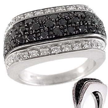 2102: 18WG cttw Black White Diamond band ring