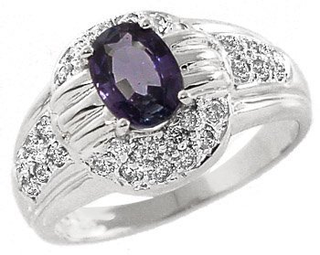 3020: 14k wg 1.55ct Color Change Sapphire/.41 Diam ring