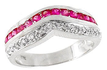 3025: 14kt wg .70ct Pink Sapphire/Diamond Ring Band