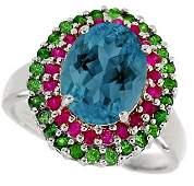 3145:14kwg 3.5ct London Blue Topaz pk SapphTsav ring