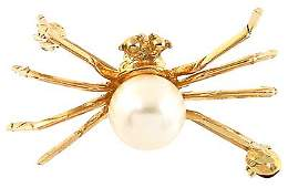 3160: 10kt 7mm white pearl spider pin brooch