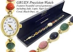 3171: Ladies MULTI GEMSTONE SCARAB bracelet watch