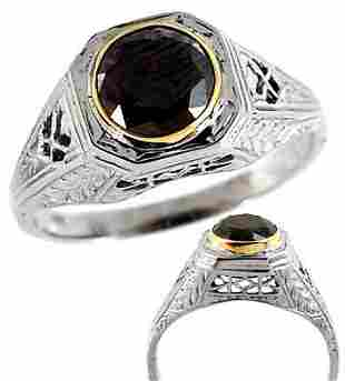 14Kt WG .98ct Black Diamond estate ring