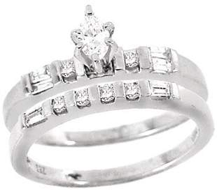 Platinum .50cttw marq Diamond 2pc wed ring