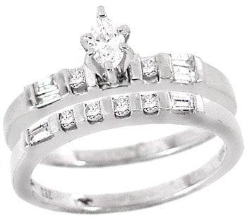 3: Platinum .50cttw marq Diamond 2pc wed ring