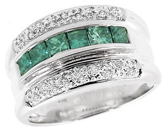 4: 14Kt  WG.83ct Blue diamond .13diamondl band ring