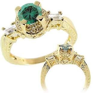 14KT YG .68ct Blue Diamond white sapp estate ring