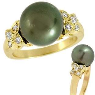14Kt YG 10.5mm Tahitian Black Pearl .20 Diamond Ring