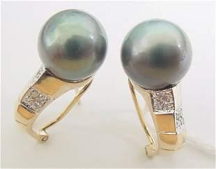 14Kt YG 11m Tahitian pearl .08dia pave omega earring