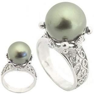 WG 12m Tahitian pearl .12white dia crown ring
