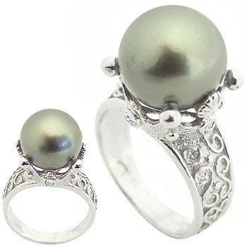 10: WG 12m Tahitian pearl .12white dia crown ring