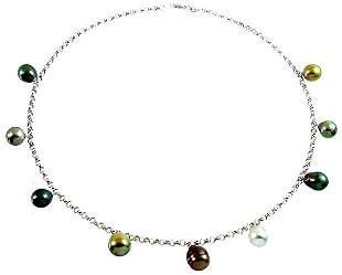 14K WG 8/11 Tahitian 9 pearl dangle rolo necklace